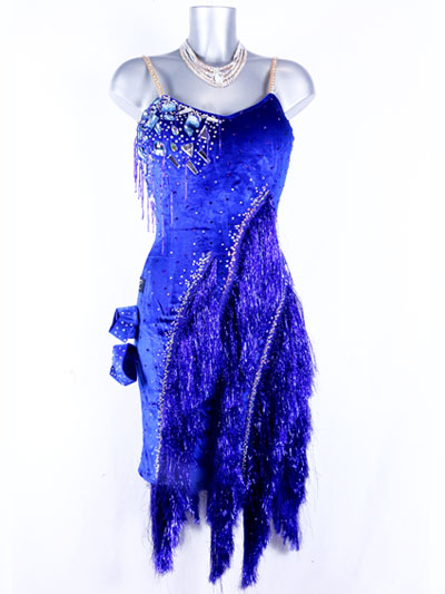 Sapphire latin dance dress design with blue lurex fringes