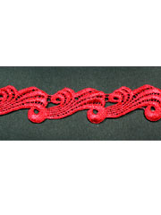 Red guipure lace