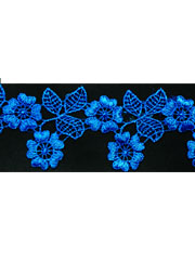Blue guipure lace
