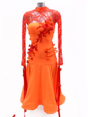 Yarina orange/red ballroom dance dress size S/M in stock