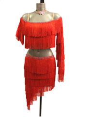 Guilia long fringe 2 pieces latin dance dress